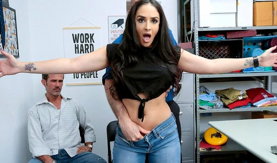 In the office brunette pays with pussy for theft and gets an orgasm