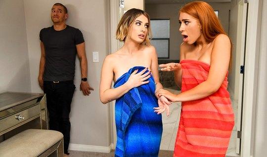 Парень в спальне получает групповой трах от рыжей и блондинки