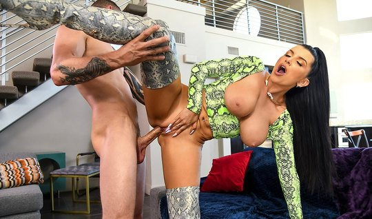 Brunette with big Tits rides phallus and cums from the spanking