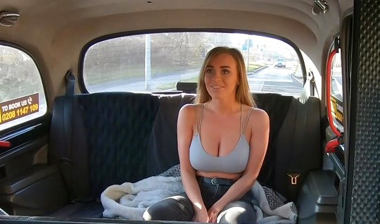Taxi driver seduced a passenger with big Tits sex in the car