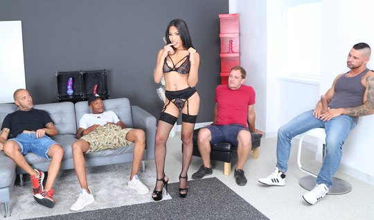Gangster crowd gives DP to petite brunette in stockings