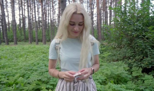 Russian in the forest arranged hot sex with a pickup in front of the turned on video camera