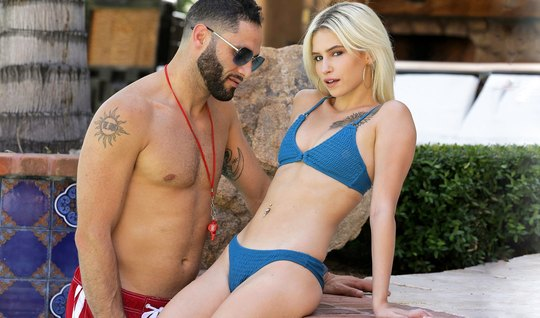 Skinny blonde substitutes juicy pussy for sex by the pool