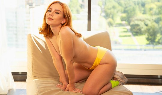 The redhead liked to fuck in anal at the casting and take cum in the ass
