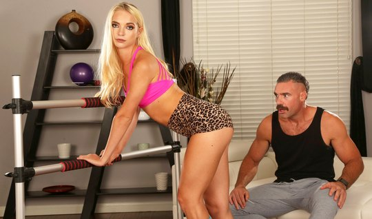 The mustachioed trainer stretches the anal of an appetizing blonde with a juicy cock and ends there