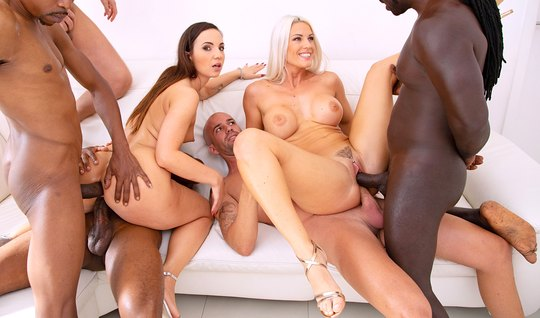 DP Orgy Brings Tattooed Girls Heavenly High and Nutritious Cum