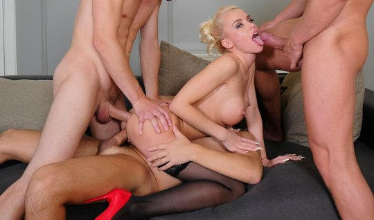 Blonde in a sex meeting with three dicks wants DP in a soft anal hole