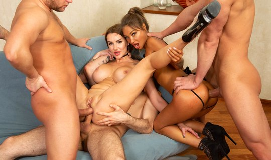 Russian girls take part in DP anal orgy