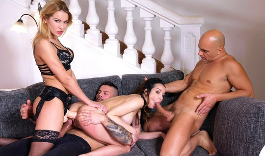 Strapon girls take part in double penetration group sex
