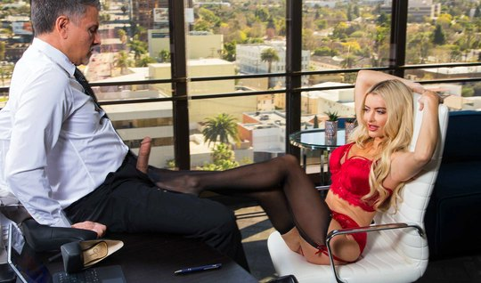 In the office, the secretary spreads her legs and fucks with the man by the boss