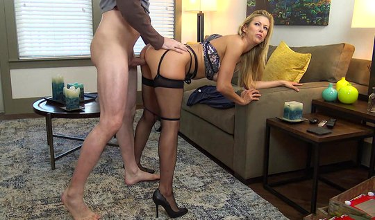 Mom in stockings substitutes her tight hole for whipping in different positions