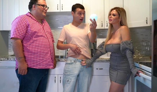 Mom with big tits cheats on her husband with his son right in the kitchen