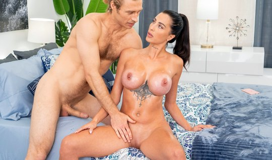 Girl with big tits rides a guy's cock and cums with delight