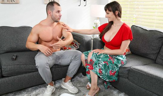 Mom with big tits spreads her legs and substitutes a juicy hole for love