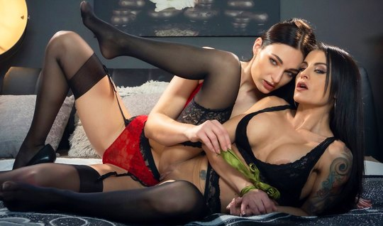 Two lesbians in stockings after Cooney enjoy masturbation of shaved holes