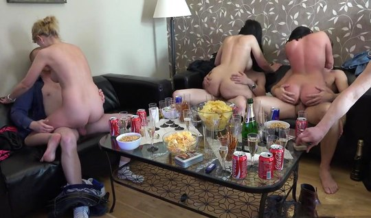 Young chicks take part in a home orgy and have sex with men