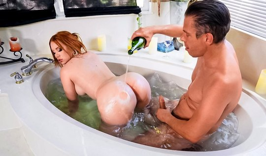 Red-haired beauty in the bathroom exposes a juicy pussy for love with a man