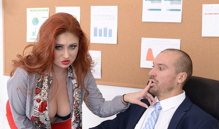 Redhead lady masturbates and has sex with colleague in the office