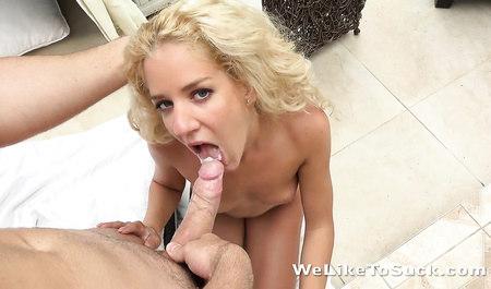 Бурный секс блондинки на свежем воздухе заканчивается камшотом